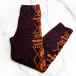 Free People Burgundy Orange Embroidered Leggings